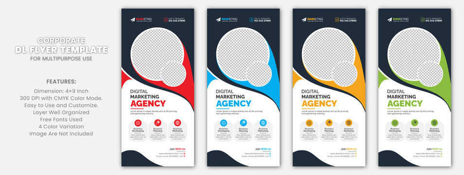 Red, Blue, Yellow, Green Corporate Business DL Flyer Rack Card Template Design for Multipurpose Use