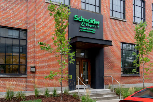 Montreal, QC, Canada - September 6, 2021:  Schneider Electric office building in Montreal, QC, Canada. Schneider Electric SE is a multinational company based in France.