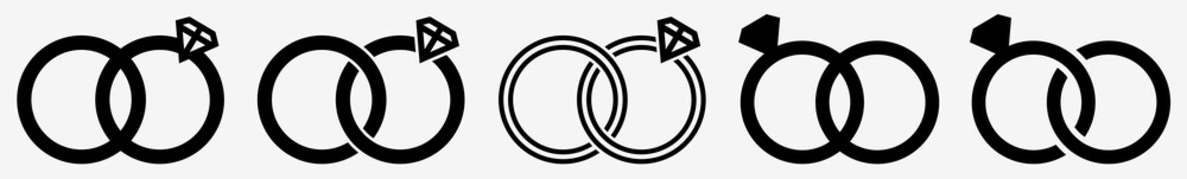 Wedding Rings Icon Diamond Wedding Ring Set | Wedding Ring Icon Jewellery Vector Illustration Logo | Wedding-Ring Icon Isolated Wedding-Rings Collection
