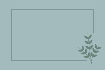 Obraz Prosta ramka z bukietem gałązek z listkami na zielonym tle. Tło do projektowania wizytówki, kartek urodzinowych, życzeń, gratulacji, wzór zaproszenia ślubnego, tło do social media lub na blog. - fototapety do salonu