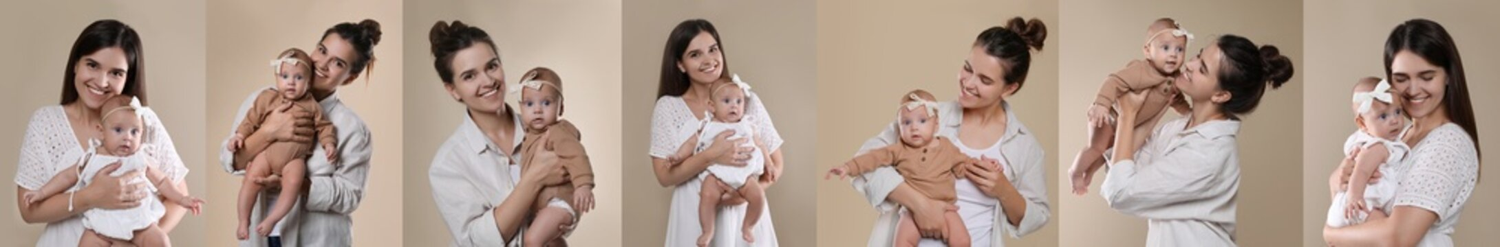 Collage with photos beautiful mother and her cute baby on beige background. Banner design
