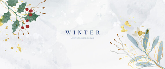 Obraz Winter background vector. Hand painted watercolor and gold brush texture, Flower and botanical leaves hand drawing. Abstract art design for wallpaper, wall arts, cover, wedding and  invite card.  - fototapety do salonu