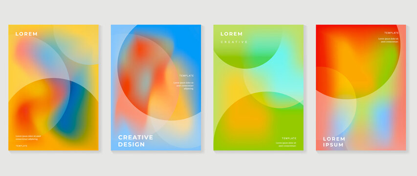 Fluid gradient background. Minimalist posters, cover, wall arts with colorful geometric shapes and liquid color. Modern wallpaper design for presentation, home decoration.  website and banner.