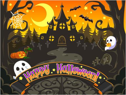 ハロウィンイラスト(横) 可愛い幽霊とお化け屋敷と森の背景2 ベクター画像