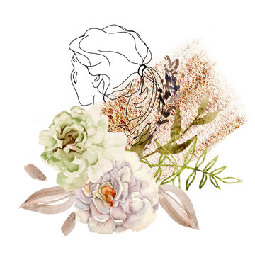 Composition with a sketch of a girl's head and flowers. Isolated on a white background.