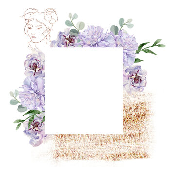Frame with a sketch of a girl's head and flowers. Isolated on a white background.