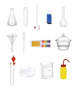 Vector set of laboratory chemical glassware, tools. Realistic icons isolated. Wash bottle, beaker, cuvette, pipette, graduated cylinder, flask, funnel, burette, test tube, ph test, vacuum desiccator.