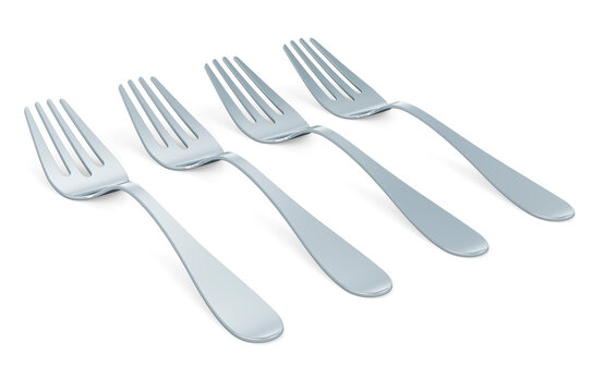 Forks in a row, 3D rendering