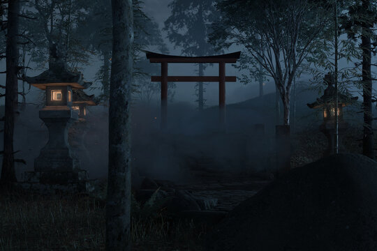 3d rendering of an old japanese shrine with torii gate and stone lantern at night
