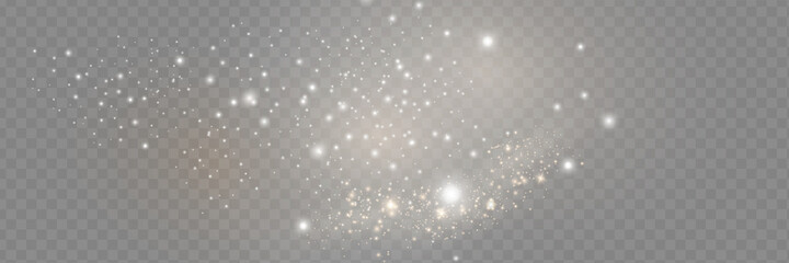 Obraz The dust sparks and golden stars shine with special light. Vector sparkles on a transparent background. Christmas light effect. Sparkling magical dust particles. - fototapety do salonu