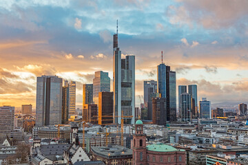 Fototapeta skyline of Frankfurt am Main in the evening obraz