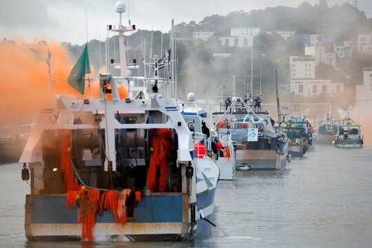 French fishermen demonstrate against offshore wind turbines projects in Cherbourg