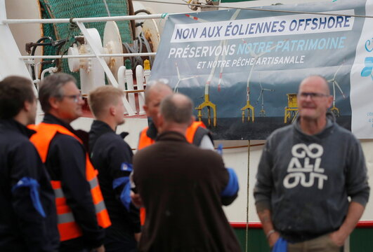 French fishermen demonstrate against offshore wind turbines projects, in Cherbourg
