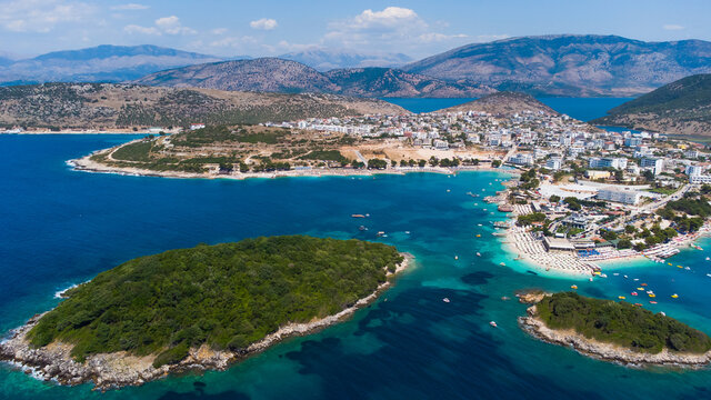 Aerial view from a drone to Ksamil, Albania