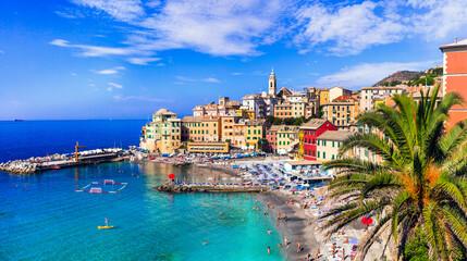 Fototapeta Most colorful coastal towns near Genova - beautiful Bogliasco village in Liguria with nice beach. Italy summer destinations obraz