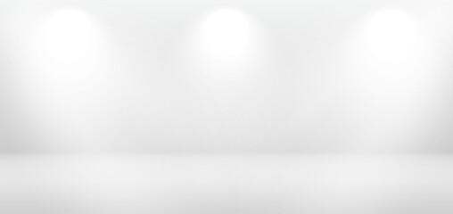 Studio gray background. Empty room with spotlight effect. Vector modern space mockup