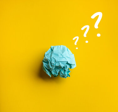 Question and answer or thinking ideas concepts with paper crumpled ball.