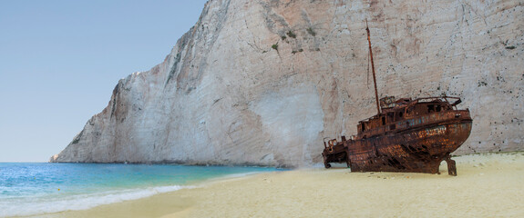 Summer landscape from Greece island Zakynthos - Navagio beach and rusty ship wrack