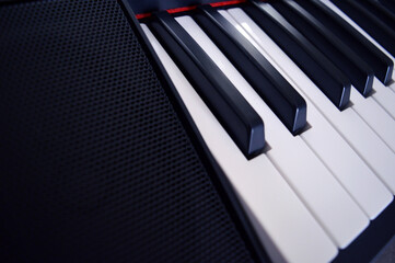 Digital Piano Keyboard - Photo of a musical instrument, closeup with white and black keys
