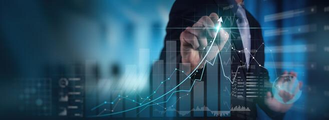 Fototapeta Businessman working with modern computer virtual dashboard analyzing finance sales data and economic growth graph chart and block chain technology. obraz