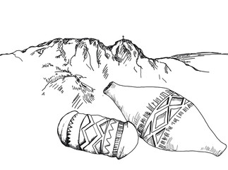 Obraz oscypek, ser, zakopane, Podhale, Zakopane rysunek,  - fototapety do salonu