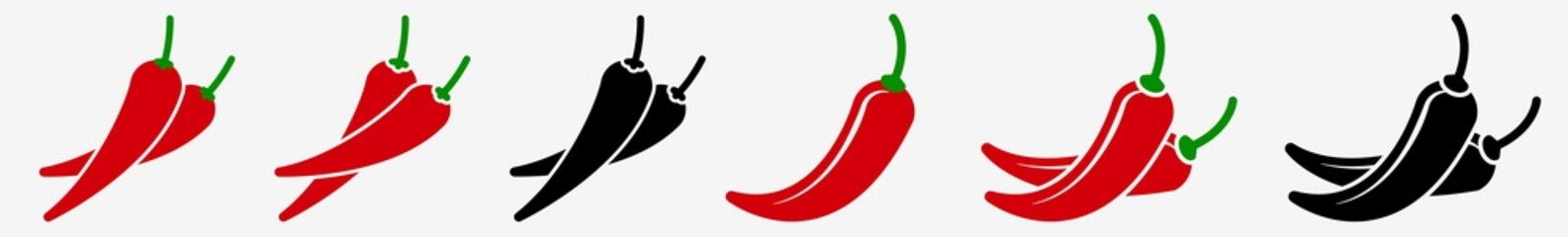 Fototapeta Spicy Chili Pepper Icon Hot Chili Pepper Set | Chili Peppers Icon Spicy Mexican Food Vector Illustration Logo | Red Chili-Pepper Icon Isolated Hot Spicy Chilis Collection obraz