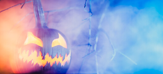 Fototapeta Spooky Halloween jack o lantern pumpkin with carved scary face glowing in fog on Halloween night. Copy space for text. obraz