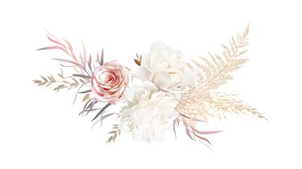 Fototapeta Luxurious beige and blush trendy vector design bouquet. obraz