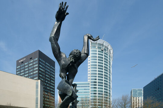 Statue City without a heart by Zadkine in Rotterdam built in by high-rise buildings, Zuid-Holland Province, THe Netherlands