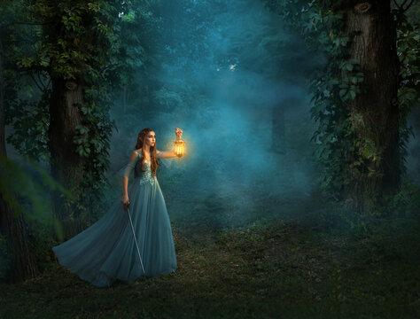 Fantasy elf woman princess warrior with medieval sword holding in hand vintage lamp lantern, warm light. Dark forest trees, blue fog. Red-haired girl walk, long dress waving. War magician magic blade.