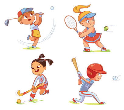 Team Sport. Field hockey, baseball, tennis, golfing. Set. Colorful cartoon characters. Funny vector illustration Isolated on white background
