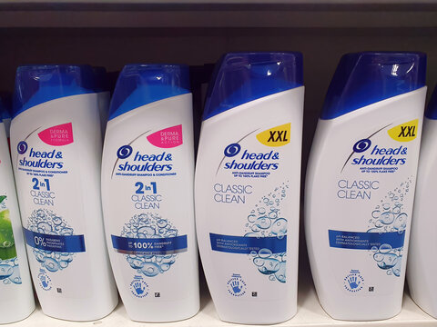 Llanelli, Wales, UK, July6, 2021 : Head and shoulders shampoo product on a shelf display at B & M (B&M) bargain discount retail store outlet at Pemberton Park near the city centre, stock photo