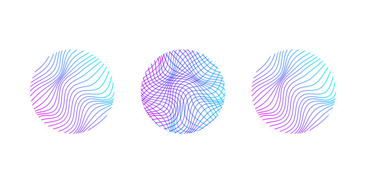Abstract circle with 3d lines