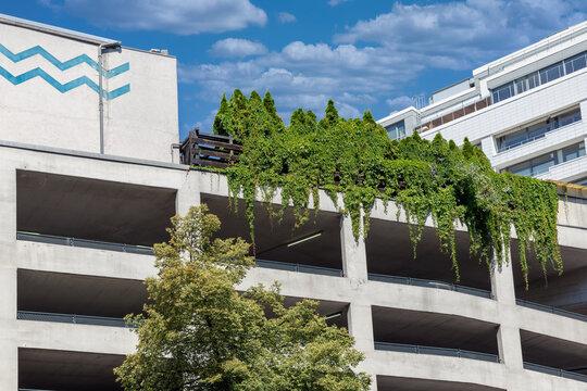Berlin parking garage with roof garden at the highest floor
