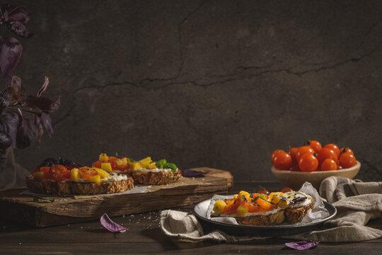 Italian bruschetta with roasted tomatoes