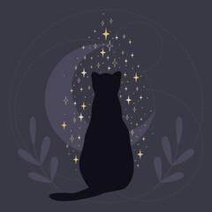 Fototapeta Czarny kot przynoszący szczęście patrzący na spadające gwiazdy. Sylwetka mistycznego kota na tle półksiężyca. Romantyczna gotycka ilustracja wektorowa. obraz