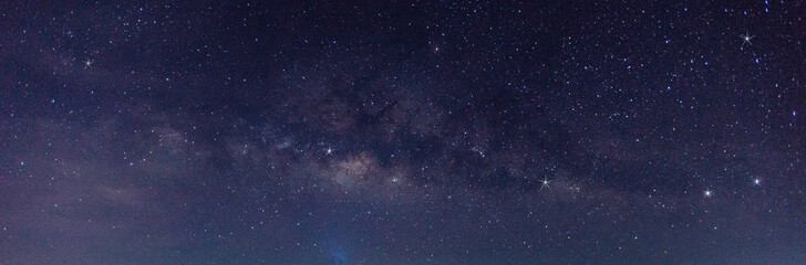 Fototapeta Panorama blue night sky milky way and star on dark background.Universe filled with stars, nebula and galaxy with noise and grain.Photo by long exposure and select white balance.selection focus.amazing obraz
