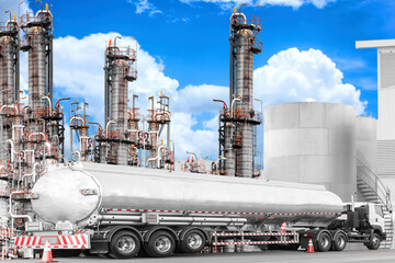 Tanker truck for transport fuel to petrochemical oil refinery