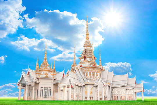 Beautiful Thai Temple in Nakhonratchasima, Thailand. Generality in Thailand, any kind of art decorated in Buddhist church, temple pavilion, temple hall, monk's house etc.