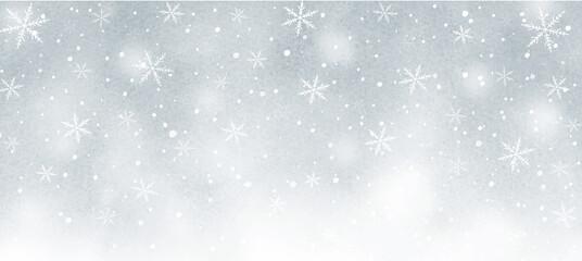 Fototapeta premium 雪の結晶の幻想的な水彩背景 グレー
