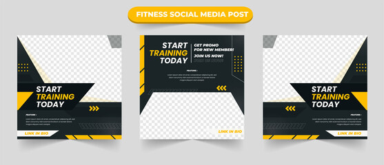 Obraz Gym training and fitness square banner template promotional banner for social media post web banner and flyer - fototapety do salonu