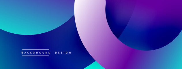 Fototapeta Abstract overlapping lines and circles geometric background with gradient colors obraz
