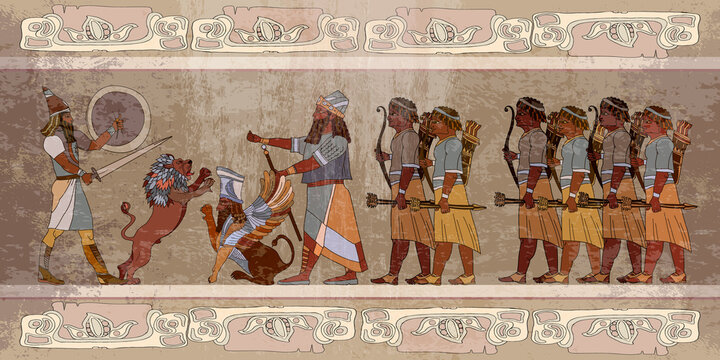 Ancient Sumerian culture. King. Lion and warrior. Scene of fight. Old civilization art. Akkadian Empire. Mesopotamia. Middle East history