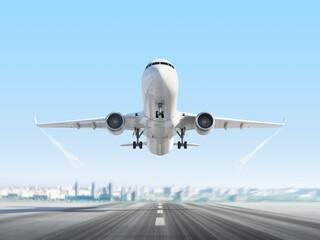 Fototapeta Passenger airplane above runway on cityscape background. 3d render. obraz