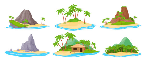 Fototapeta Tropical island at sea ocean set vector. Exotic landscape for vacation or summer weekend holiday obraz