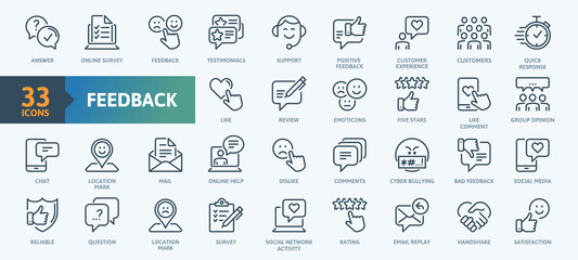 Feedback Outline Icon Collection. Thin Line Set contains such Icons as Rating, Testimonials, Quick Response, Satisfaction and more. Simple web icons set.