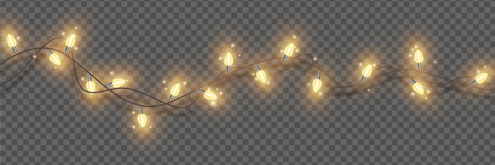 Fototapeta Christmas lights, vector holiday festive illumination, x-mas glowing garland, New Year decor element. Winter party border, glowing wreath on transparent background. Christmas lights, carnival lamps obraz