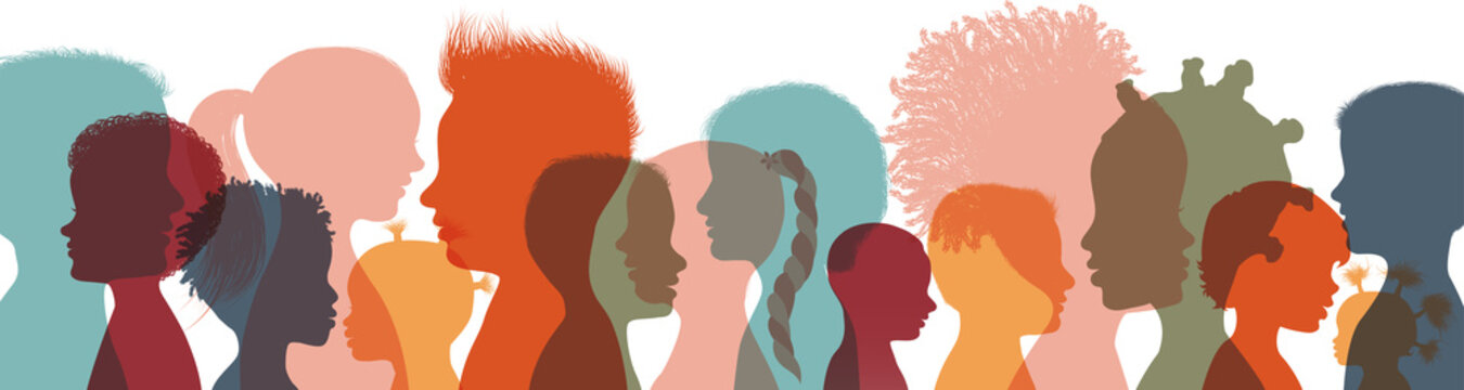 Heads faces colored silhouettes multicultural and multiethnic diversity children in profile. Concept of study education and learning. Kindergarten or elementary school education. Banner