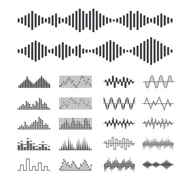Set of Music Sound Waves, Audio Digital Equalizer Technology Isolated Design Elements, Console Panel, Pulse Musical Beat