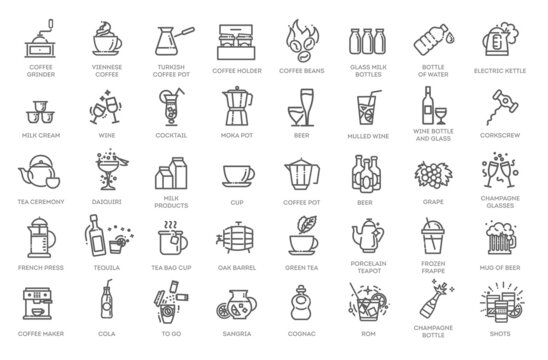 Drink - thin line web icon set. Outline icons collection. Simple vector illustration.